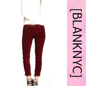 BLANK NYC Velvet Pattern Skinny Jeans Maroon 28